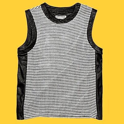 Public School Leather Sleeveless Crew Neck T-Shirt, White, Size M