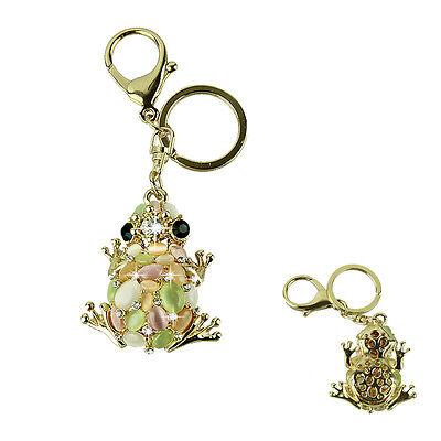New Cat eye stone Frog Keychain Crystal purse Bag Key Chain ring key fob Gift
