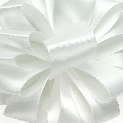 5 Yds DOUBLE FACE WHITE SATIN RIBBON  2 1/4