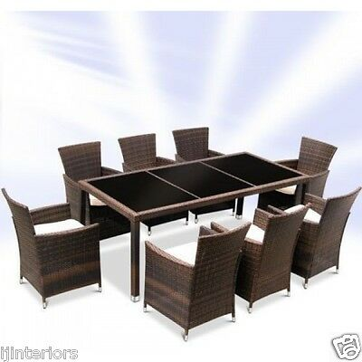 Garden Furniture - RATTAN GARDEN FURNITURE DINING TABLE AND 8 CHAIRS DINING SET OUTDOOR PATIO