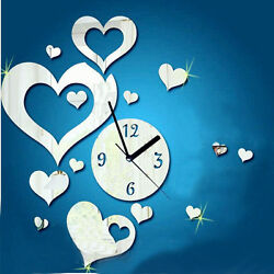 Love heart-shaped Sticker DIY Mirror Wall Clock Wall Sticker Home Gayly