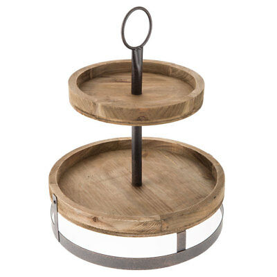 Round Two Tier Wood Rustic Tabletop Stand Storage Tray Farmhouse Charm (Round Serving Trays)