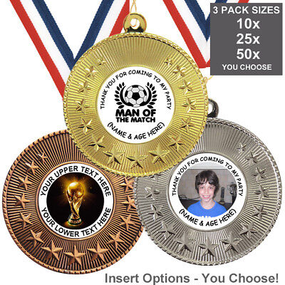 FOOTBALL BIRTHDAY PARTY METAL MEDALS 50mm, PACK OF 10 RIBBONS INSERTS OWN TEXT  ()