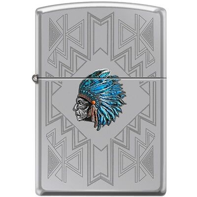 Zippo Indian Chief with Turquoise Feather Headress and Engravings Lighter - Feather Zippo Lighter