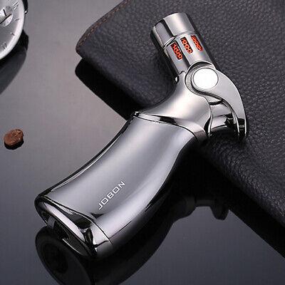 Jobon Refillable Butane Quad 4 Flame Cigar Cigarette Jet Torch Gas Lighter Gray Butane Jet Flame Cigar