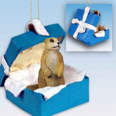 Prairie Dog Gift Box Blue Ornament