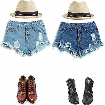 2016 Fashion Women High Waist Vintage Jeans Hole Short Jeans Denim Shorts Pants