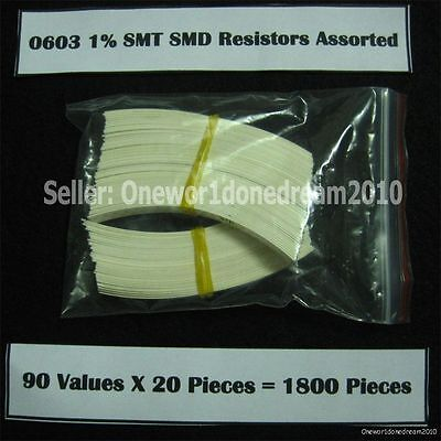 Lot Of 1800 Pieces 0603 1 Smd Smt Resistor Assortment Kit Assorted Value Pack