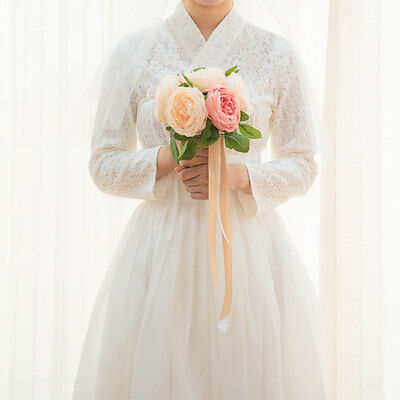 [Korea Costume Life Hanbok] One Piece Waist Skirt Set White Swan Race Wedding
