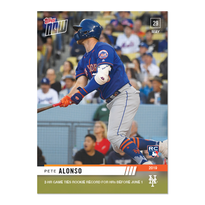 2019 TOPPS NOW #299 PETE ALONSO 2-HR GAME TIES ROOKIE RECORD