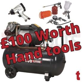 Sealey SAC10030VE Compressor 100ltr V-Twin Direct Drive 3hp + £100 Hand tools