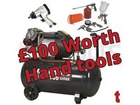 Sealey SAC10030VE Compressor 100ltr V-Twin Direct Drive 3hp + £100 Hand tools