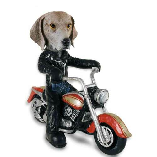 Weimaraner on a Motorcycle Stone Resin Figurine Statue
