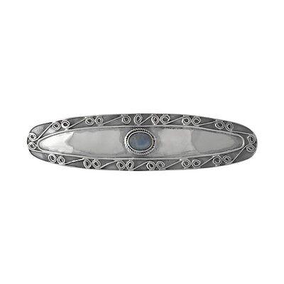 Brand New Sterling 925 Silver Hair Barrette / Clip w. Rainbow Moonstone