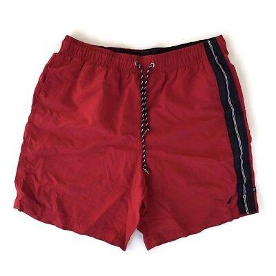 7a8e4718e5 Retro Nautica Men's Swim Trunks Red VTG Style Short Board Shorts Size L