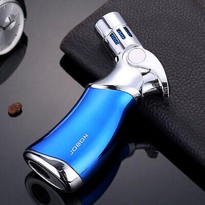 Blue Butane Torch Lighter (Jobon Refillable Butane Quad 4 Flame Cigar Cigarette Jet Torch Gas Lighter Blue )