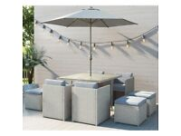 Outdoor Rattan Garden Furniture - Garden Table and 8 Chairs + Grey Parasol