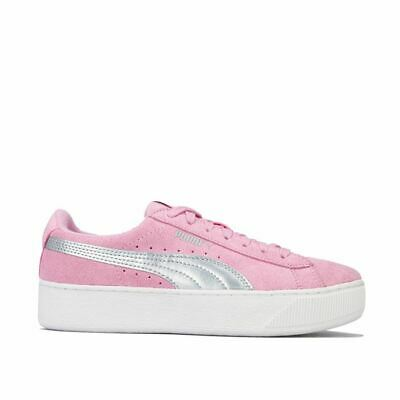 Girl's Puma Junior Vikky Lace Up Cushioned Platform Trainers in Pink