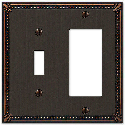IMPERIAL BEAD ANTIQUE BRONZE 1 TOGGLE & 1 GFI COMBO SWITCHPLATE (Antique Bronze 1 Toggle)