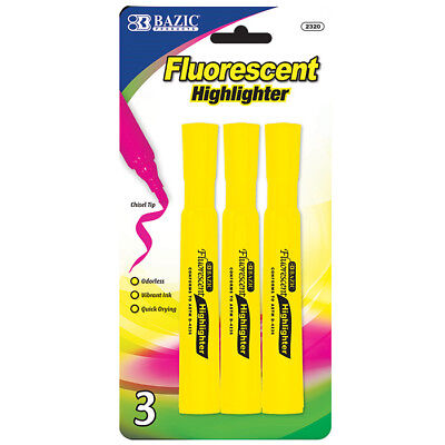 Yellow Desk Style Fluorescent Quick Drying Highlighters 3 Per Pack - Us Shipping