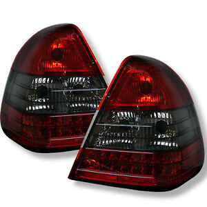 Mercedes Benz 94-00 W202 C-Class Red Smoke LED Rear Tail Lights Brake Lamp Set