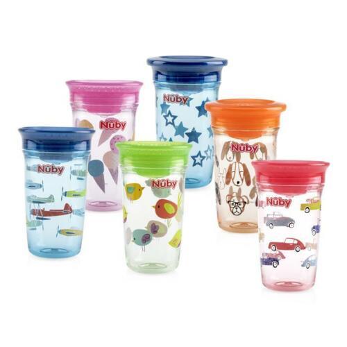 Nuby 360º No Spill Wonder Cup 2-Pack - Fun Colors - 10oz/300ml - BPA Free