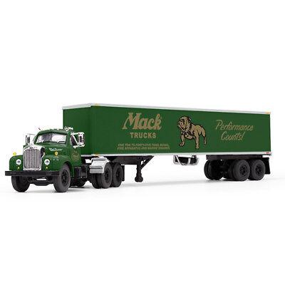 First Gear 1:64 *GREEN* MACK B-61 Semi Truck Day-Cab w/40' Vintage Trailer *NIB*