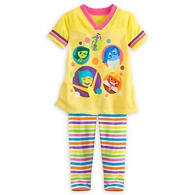 DISNEY STORE INSIDE OUT SLEEP SET PJ PAJAMAS GIRLS NWT 2 PC SET TOP & LEGGINGS Disney Store Girls Pajamas