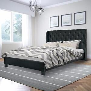 Tufted Leather Queen Bed Frame - QUEEN/KING Size