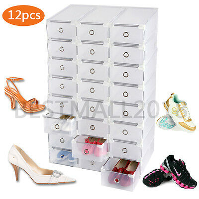 12 x STORAGE SHOE BOXES PLASTIC DRAWER BOX KITCHEN GARAGE TOOL ORGANISER CLOSET