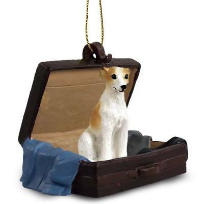 Whippet Tan White Traveling Companion Dog Figurine In Suit Case - White Whippet Ornaments