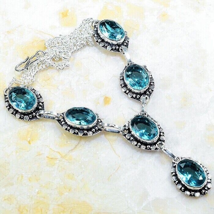 Blautopas Edelsteine 925 Sterlingsilber Halskette in Elegantes Jugendstil Design
