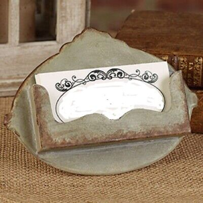 Distressed Gray Business Card Holder Metal Shabby Vintage Look Galvanized Rust