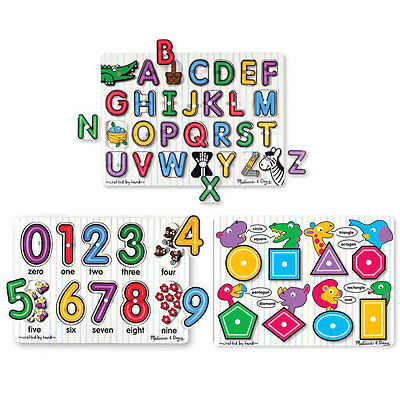 Melissa and Doug - 3 x Peg Puzzle - Alphabet Numbers Shapes NEW fresh start toy