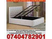BRAND NEW SINGLE,DOUBLE,KINGSIZE LEATHER OTTOMAN BED FRAME WITH DIAMOND HEADBOARD & MATTRESS
