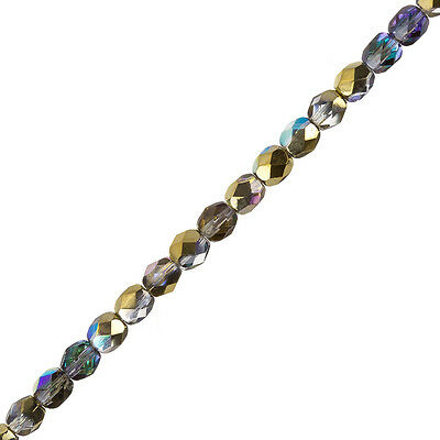 "Crystal Golden Rainbow 6mm Czech Fire Polished Beads 6"" Strand 25 Piece (G105/2)"