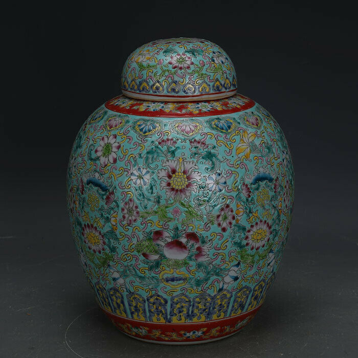 "11"" Chinese antique Porcelain Qing qianlong mark famille rose flower Tea Caddy"