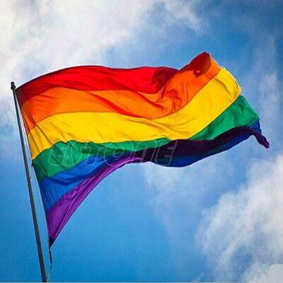 90cm x 150cm Rainbow Flag 3x5 FT Polyester Flag Gay Pride Peace Flags New