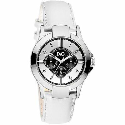 D&G Dolce & Gabbana DW0535 Texas Armbanduhr Unisex, Edelstahl, Leder, Weiß - Neu