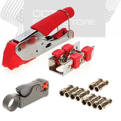 Compression Tool Coax Rg59 Rg6 F BNC RCA Connector Cable Stripper Crimper Set