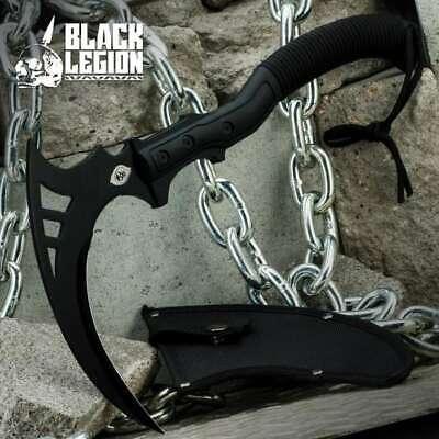 "16"" Black Legion Tactical Sickle Ninja Scythe Axe Sword Blade Hunting Kama Knife"