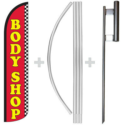 Body Shop 15 Tall Windless Swooper Feather Banner Flag Pole Kit