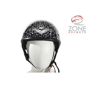 DOT Approved Low Profile Motorcycle Helmet With Black Finish & S