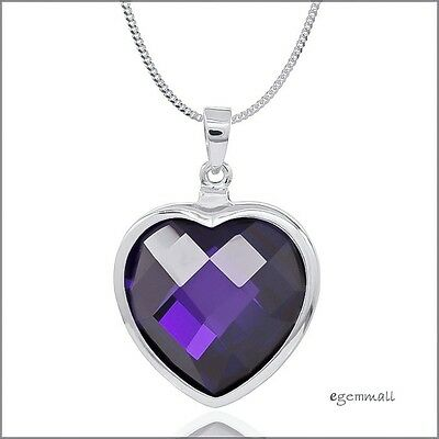 Large Sterling Silver Cubic Zirconia Heart Pendant 22.5mm Amethyst Purple #65512 Cubic Zirconia Large Heart