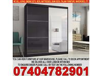 BRAND NEW HIGH GLOSS 2 DOOR SLIDING WARDROB WITH MIRROR, BLACK, WHITE