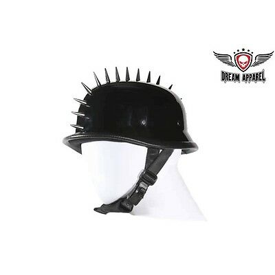 Gloss Black GERMAN SPIKE Novelty Motorcycle Half Helmet Cruiser Biker Many Sizes ()