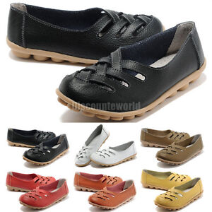 Womens-Casual-Comfort-Cut-Out-Leather-Loafers-Flat-Shoes-Moccasin-Sandals