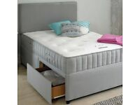 "DOUBLE DIVAN BED SET + 10"" DUAL TURN MATTRESS + HEADBOARD (OPTIONAL STORAGE)"
