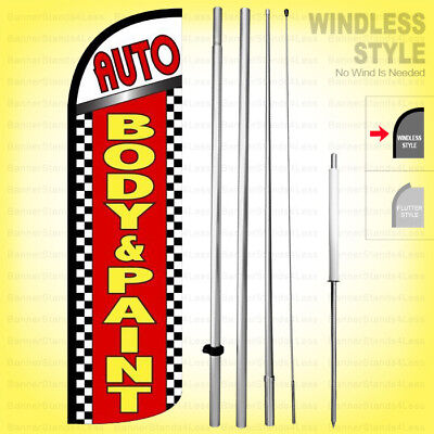 Auto Body Paint - Windless Swooper Flag Kit 15 Feather Banner Sign Rq62-h