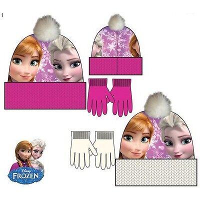 Disney Frozen Anna Elsa Mütze Handschuhe Set Wintermütze Bommel Hut Kinder